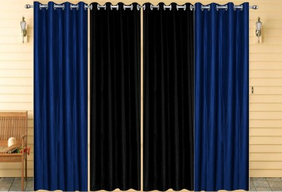 Thiwas Polyester Blue, Black Plain Eyelet Door Curtain