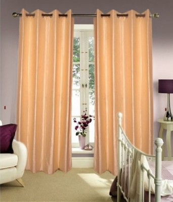 Sanaya Polyester Beige Solid Eyelet Door Curtain