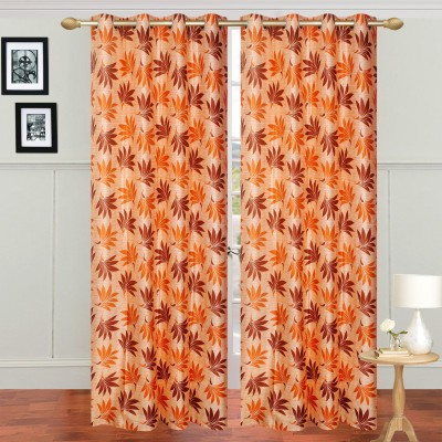 Jars Collections Polyester Orange Floral Eyelet Long Door Curtain