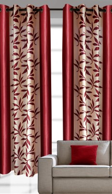 India Furnish Polyester Maroon Printed Eyelet Door Curtain
