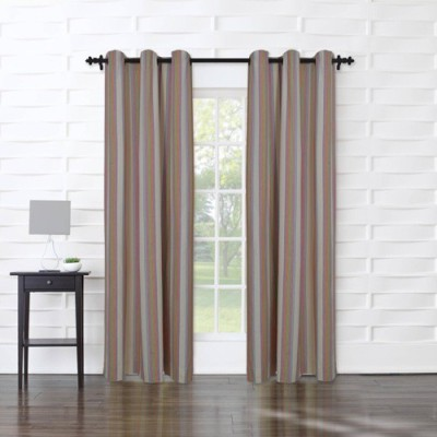Home Boutique Cotton Multicolor Striped Eyelet Door Curtain