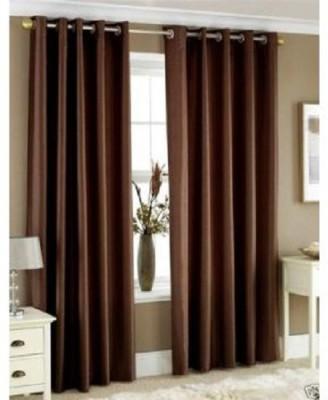 LV Polyester Multicolor Plain Eyelet Window Curtain