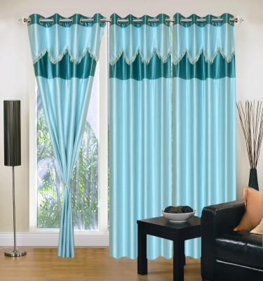 Swastik Polycotton Blue Plain Eyelet Long Door Curtain