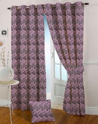 Presto Polyester Purple, Black Printed Eyelet Door Curtain