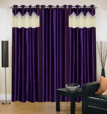 Brand Decor Polyester Purple Solid Eyelet Long Door Curtain