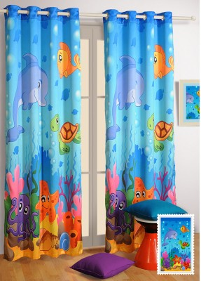 Swayam Silk Blue Cartoon Eyelet Door Curtain