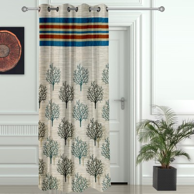 Story @ Home Jacquard Blue, Red Printed Eyelet Door Curtain