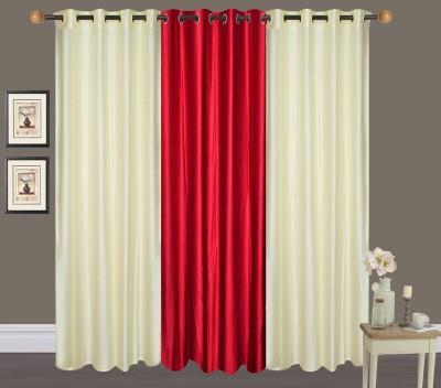 Shiv Shankar Handloom Polyester Cream, Maroon Crush Solid Eyelet Door Curtain
