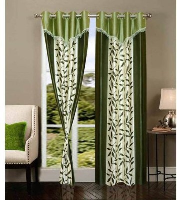 Raj Shobha Home Decor Polyester Green Floral Eyelet Door Curtain