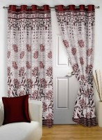 Story@Home Jacquard Maroon Abstract Eyelet Door Curtain(215 cm in Height, Single Curtain)