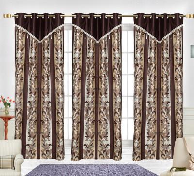 Comfort Zone Polyester Brown Multiprinted Leaf Abstract Eyelet Door Curtain