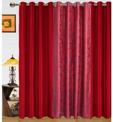Sai Arpan Polyester Maroon Printed Eyelet Door Curtain