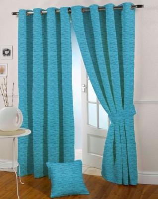 Presto Polyester Blue Solid Eyelet Window Curtain