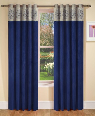 Abhi Decor Polyester Blue Embroidered Curtain Long Door Curtain