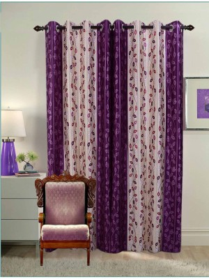 Jds Polyester Purple Floral Eyelet Door Curtain