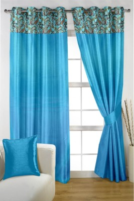 HOMEC Satin Blue Paisley Eyelet Window & Door Curtain