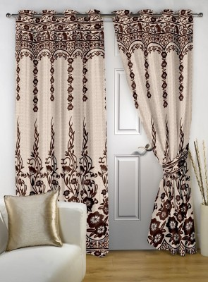 Story @ Home Polyester Brown Abstract Eyelet Door Curtain