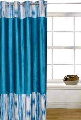 Shopcrats Polyester Blue Solid Rod pocket Window & Door Curtain