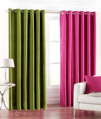 RS Quality Polyester Multicolor Plain Eyelet Window & Door Curtain