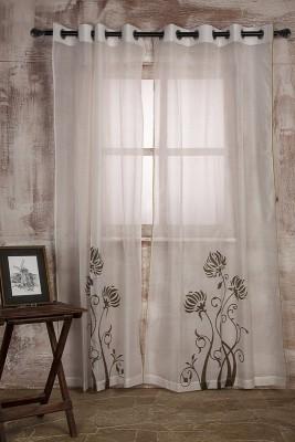 MARIGOLD Polycotton White Printed Eyelet Door Curtain