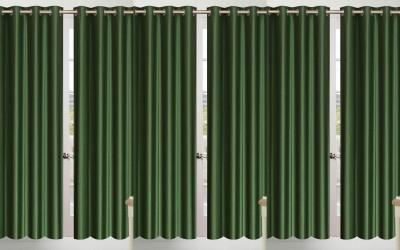 Shopgalore Polyester Green Plain Eyelet Door Curtain