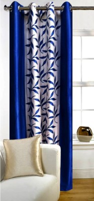 SKE Polyester Blue Striped Eyelet Window Curtain