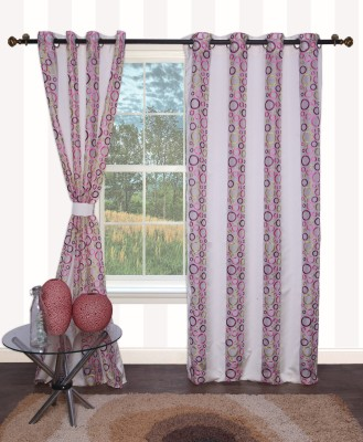 Furniche Polyester Multicolor Floral Eyelet Door Curtain