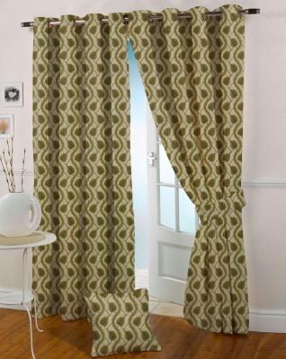 Presto Polyester Green Floral Eyelet Window Curtain