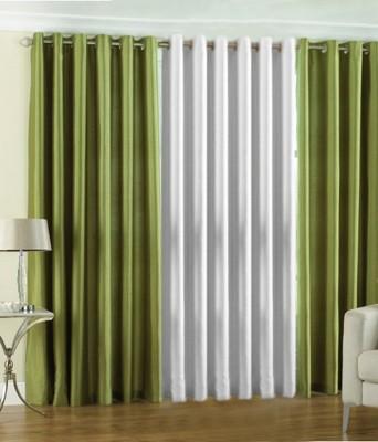 The Decor Hub Polyester Green, White Plain Eyelet Door Curtain