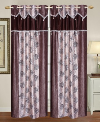 HomeTex Polycotton Grey Printed Eyelet Long Door Curtain