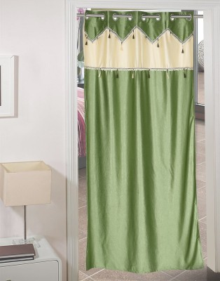 AJ Retails Polyester Alluring Green, Chic Beige Solid Eyelet Door Curtain