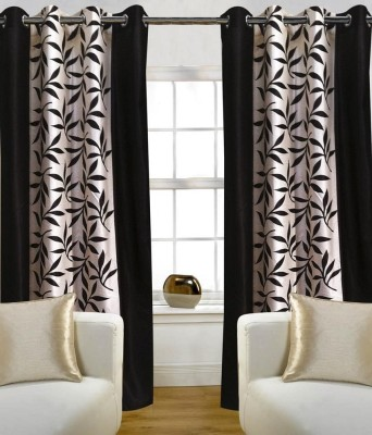 RK Home Furnishing Polycotton Black Plain Eyelet Window Curtain