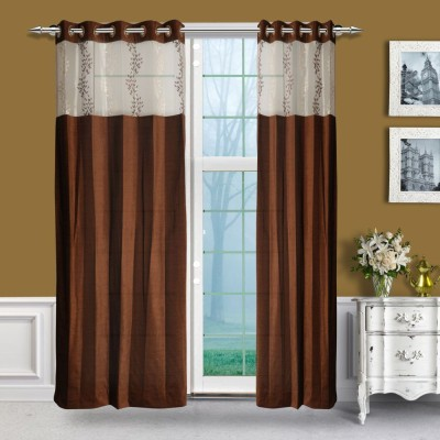 Just Linen Chenille, Tissue Brown Embroidered Eyelet Door Curtain