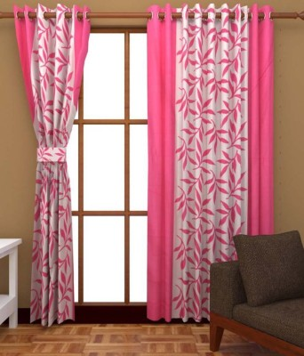 SLV Home Decor Polyester Pink Floral Eyelet Window Curtain