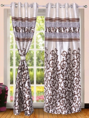 Wind Drape Polyester Coffee Abstract Ring Rod Door Curtain