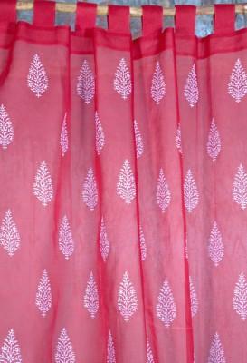 Ocean Homestore Cotton Red Floral Curtain Door Curtain