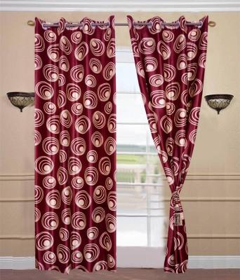 JTInternational Polyester Maroon Floral Eyelet Door Curtain
