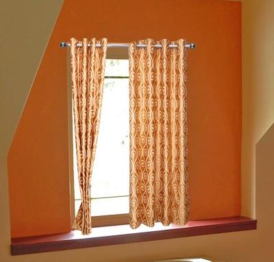 OsianArts Orange Solid Eyelet Window Curtain