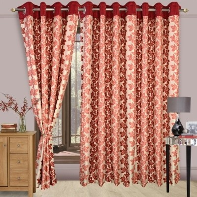 Cortina Polyester Maroon Floral Eyelet Door Curtain