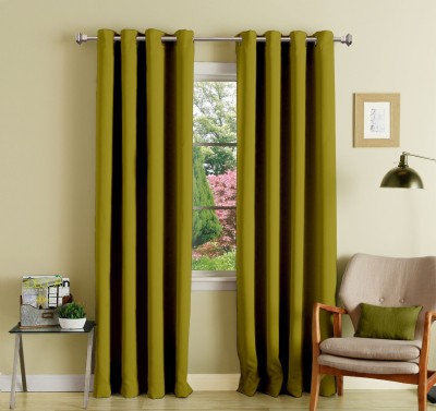 Lushomes Polyester Ginger Plain Eyelet Long Door Curtain