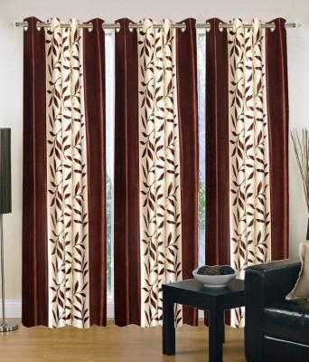 Export Hub Polyester Coffee Floral Eyelet Long Door Curtain