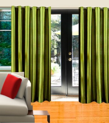 Home Candy Polyester Green Striped Eyelet Door Curtain