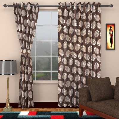 kart4smart Silk Brown Floral Curtain Window & Door Curtain