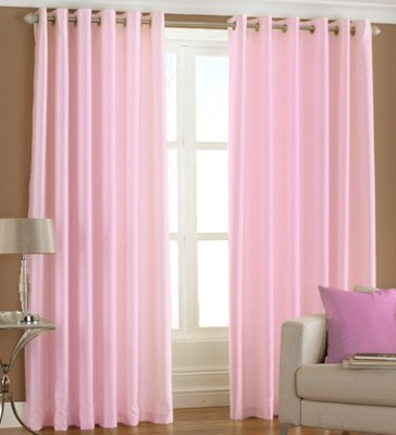 XEEKART Polyester Pink Plain Eyelet Door Curtain