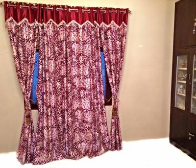 SHC Polyester Maroon Checkered Eyelet Door Curtain