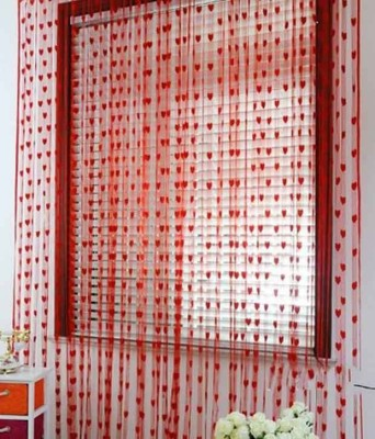 A R ENTERPRISES Polyester Red Floral Ring Rod Door Curtain