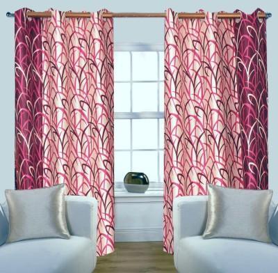 Glamora Interiors Polyester Pink Printed Curtain Window & Door Curtain