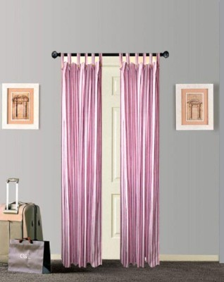 Tidy Cotton Pink Striped Tab Top Door Curtain