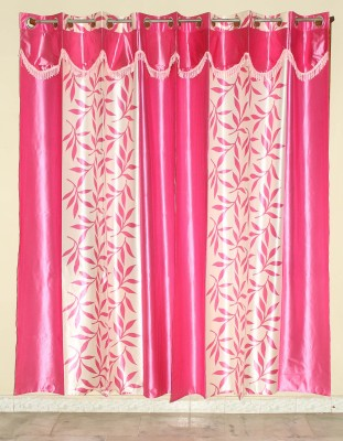 GLOW Polyester Pink Abstract Eyelet Door Curtain