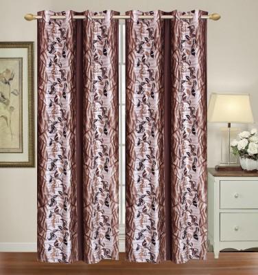 HomeTex Polycotton Light Brown Silver Printed Eyelet Long Door Curtain